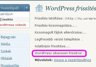WordPress sikeresen frisstve!