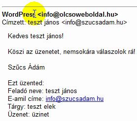 E-mail, WordPress nevű feladótól