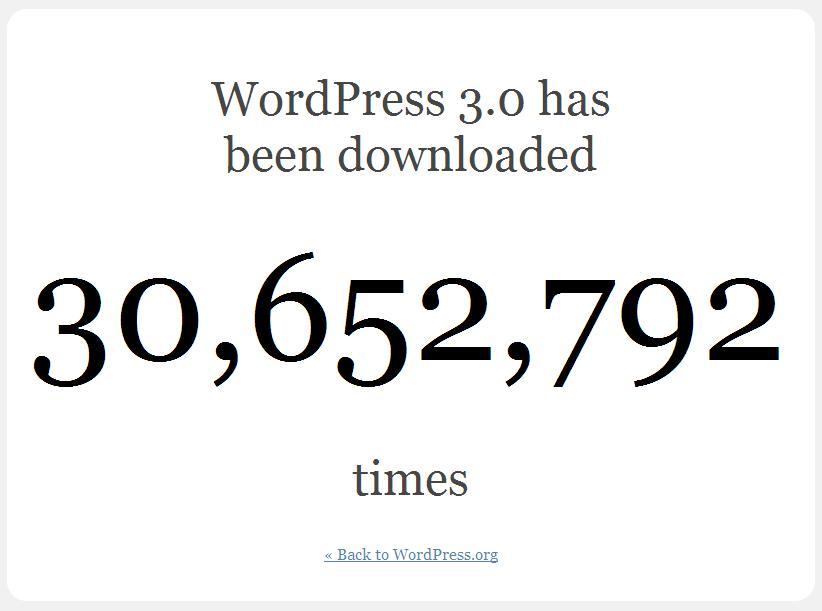 Ennyiszer töltötték le eddig a WordPress 3.0-át