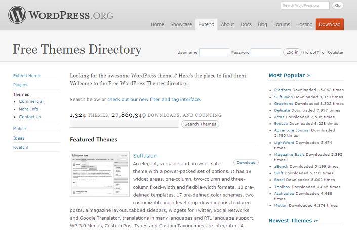 Hivatalos WordPress kinézet gyűjtemény
