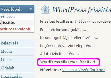 WordPress sikeresen frissítve!