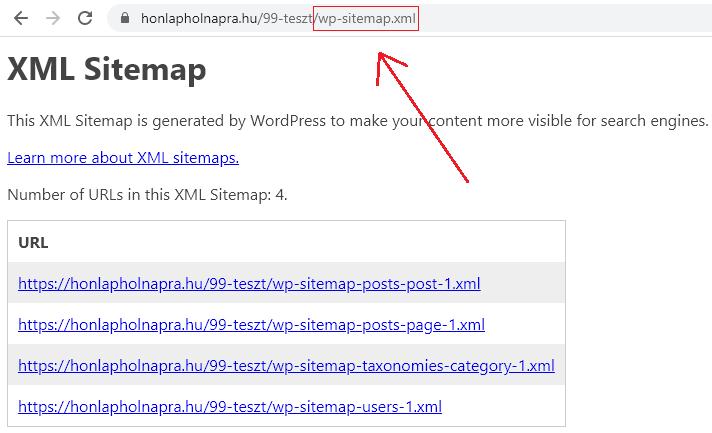 WordPress 5.5 - sitemap.xml generálása